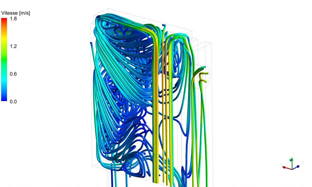 Lignes de courant à la sortie de la cheminée interne d'un poêle de masse