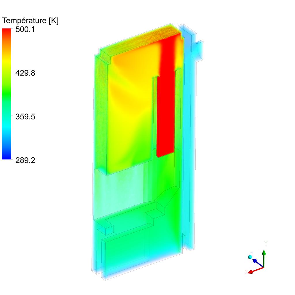 Evolution des champs de température au sein d'un poêle de masse